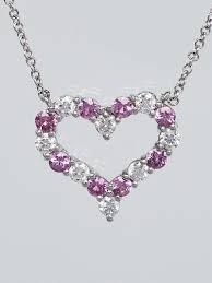 tiffany co platinum diamond and pink sapphire heart pendant
