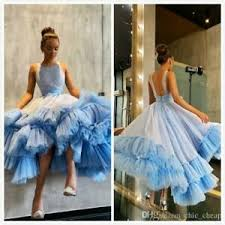 Prom Dress Color Chart Details About Sky Blue Sparkly Evening Dresses Backless Tea Length Prom Dress Formal Gowns