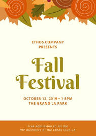 Fall Festival Flyer Free Template Cream With Foliage Fall Festival Flyer Templates By Canva
