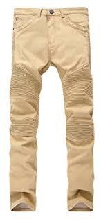 moto pants mens. krralinlin men\u0027s khaki biker moto jeans ripped skinny stretch slim casual pants mens