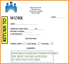 Kaiser Doctors Excuse Note Blank Printable Doctor Note Excuse Template 9 Free Word