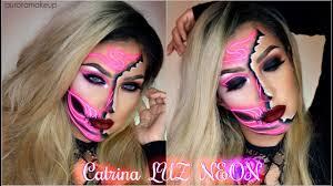 catrina luz neon neon half sugar skull makeup tutorial auroramakeup