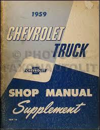1959 chevrolet truck wiring diagram manual reprint 1959 chevrolet pickup truck repair shop manual original supplement