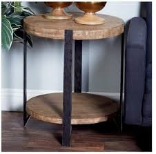 rustic round end table side furniture industrial solid wood farmhouse metal new