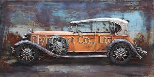 china 3d metal wall decor oil painting for car china metal painting metal artwork