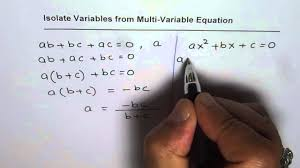 isolate variable from multi variable equation