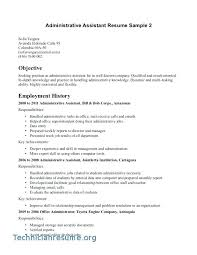 Sample Executive Assistant Resume Objective Medical Administrative