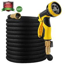 malenoo 50ft garden hose strong expandable garden hose with double latex core and 9 function spray nozzle by hospaip solid brass connector and extra