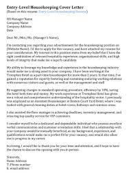 Sample Cover Letter For Hospitality Industry 10 Cover Letter For Housekeeping Payment Format Sample