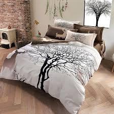 designer deer and tree bedding set queen king size brushed cotton textiles soft warm duvet cover