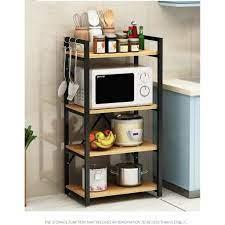 Kệ Để Lò Vi Sóng 4 Tầng Tiện Ích, kệ bếp đa năng tiện lợi- Tủ gỗ đa năng  chịu lực tốt khung thép không gỉ sơn tĩnh điện - Kệ nhà