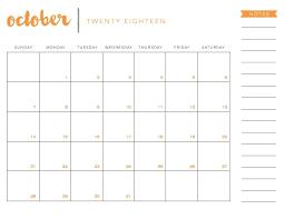 Blank October Calendar 2018 Printable Pdf