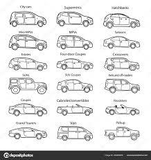 Exterior Car Body Design Big Set Car Body Types Text Simple Black Outline Car Stock