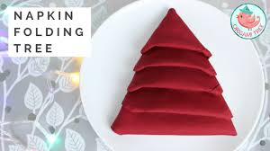 Napkin Folding Tutorial - Christmas Tree Napkin Fold - EASY Folding for  Dinner Tables @OrigamiTree - YouTube