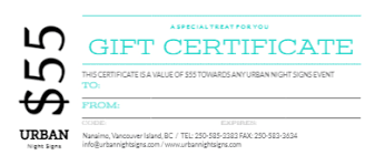 Gift Certificate Sign Gift Certificates For Sign Nights On Vancouver Island Urban Night