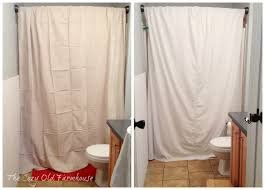 the cozy old farmhouse painter s dropcloth becomes diy grain sack shower curtain