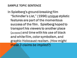 claim data warrant analysis essay organization sample prompt  sample topic sentence in spielberg s ground breaking film schindler s list 1996 unique