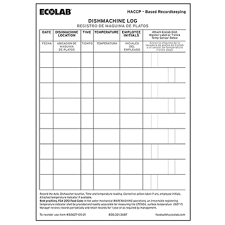 Dishwasher Temperature Chart Item Ecolab Dishmachine Log