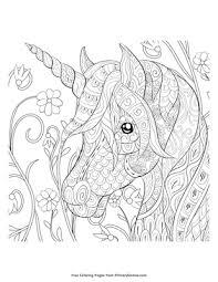 Zentangle Unicorn Head Coloring Page Printable Unicorns Coloring