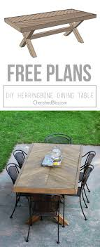 diy outdoor furniture plans. Build This DIY Outdoor Table Featuring A Herringbone Top And X Brace Legs!  Would Also Diy Outdoor Furniture Plans 0
