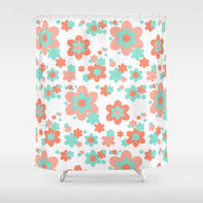 c and mint green fl shower curtain by decampstudios