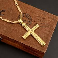 whole emen s women large size cross 14 k yellow solid gold gf charms lines pndant necklace fashion jewelry heavy silver pendant necklaces ruby