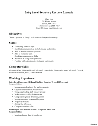 Objective For Secretary Resume Resume Food Industry Resume 23