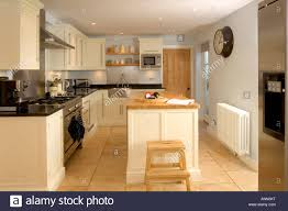 Fitted Kitchen Small Contemporary Fitted Kitchen With Island Unit Stock Photo
