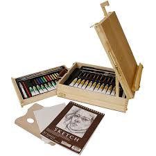 us art supply 62 piece wood box easel painting set including box easel 12 s of acrylic paint colors 12 artist pastels 3 assorted acrylic painting