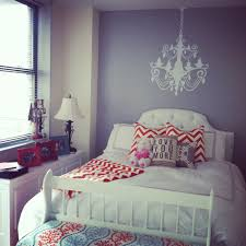 Grey And Orange Bedroom, Chevron And Sunny
