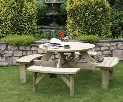 supported round picnic table