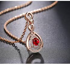 genuine red ruby diamond pendant necklace rose gold necklace with ruby pendant