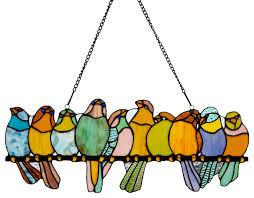 gathering birds stained glass window panel green