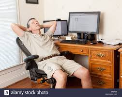 working for home office. Perfect Home Man Working From Home Office  Thinking Slacking Sleeping Relaxing In  Shorts With Desk Two Monitors On Working For Home Office