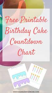 Free Printable Birthday Cake Countdown Chart Birthday Kids