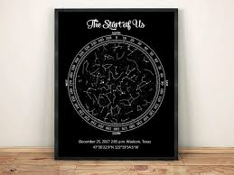 Star Chart Of A Certain Date Our First Date Gift Custom Star Map Printable Night Sky Map