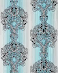 3d Barok Behang Vinyl Behang Edem 096 22 Damast Ornamenten Modern En Fraai Turquoise Blauw Grijs Wit Zilver Zwart
