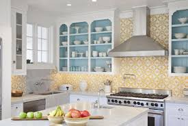 yellow pattern wallpaper in the kitchen