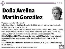 Esquela de MARTIN GONZALEZ,AVELINA : Esquela | Esquela en El Correo