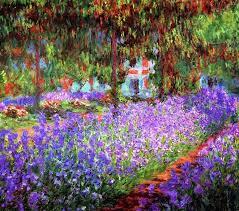 monets garden painting irises in s garden at by monets garden table basket monets garden