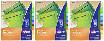 Avery 11901 Template Avery 8 Tab Plastic Binder Dividers Insertable Multicolor Big Tabs 3 Sets 11901 71901 Shopemalls Com