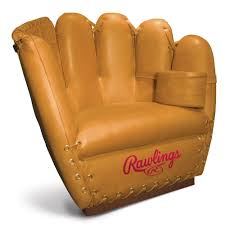 the rawlings glove chair and ottoman are designed for the ultimate baseball fan handcrafted from rawlings heart of the hide glove leather this chair and