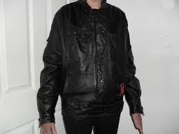frank thomas vintage biker jacket black leather size 12 or 32 34 chest good condition