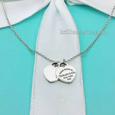 details about return to tiffany co mini double heart tag pendant necklace 925 silver 18