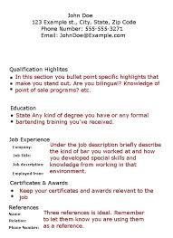 Bartender Resume Job Description Sample Resume Letters Job Application