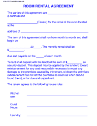 room for rent application rental agreement fill online printable fillable blank