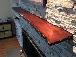 custom made live edge slab fireplace mantle