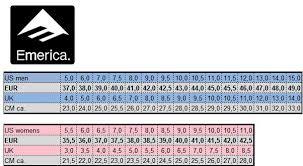 Emerica Shoes Size Chart Emerica Groessentabelle Schuhzentrum De Schuhe524 Gmbh
