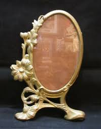 details about antique 24kt gold plated heavy metal oval picture frame stamped amw 3907