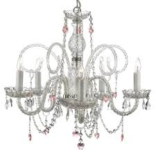 5 light venetian style empress crystal chandelier with pink crystal hearts